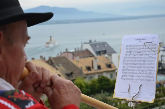 Alpen Horn player in Nyon 2015 - Brian Jackson