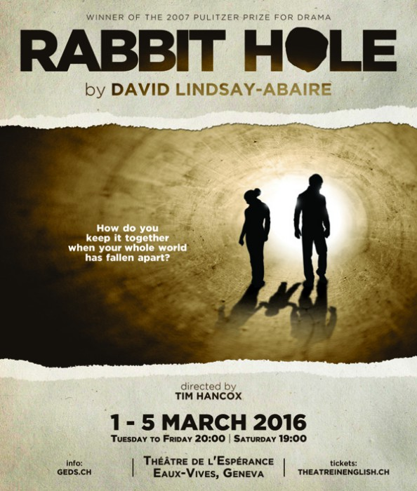 an analysis of the play rabbit hole by david lindsay abaire Rabbit hole, based on an acclaimed play by david lindsay-abaire, occupies the drafty spaces between the cliches of this situation becca (nicole kidman) and howie (aaron eckhart) are rattling unhappily in an emotional emptiness as a couple, they attend a group therapy session for mourners, and.