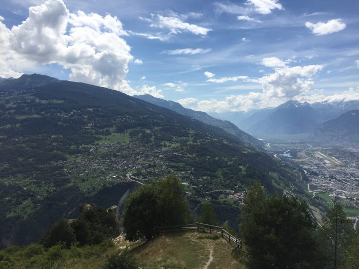 From Nax, the view over to the start at Veysonnaz, and down to Sion