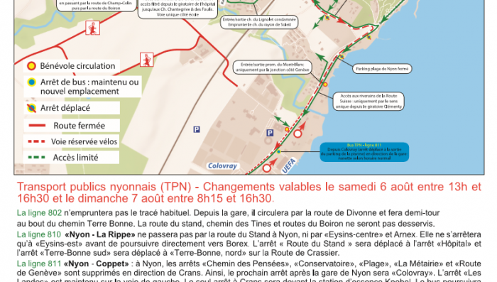 Traffic disruptions in Nyon during Triathlon 6/7 August