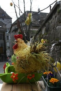 Easter market and fountains in Nyon this weekend