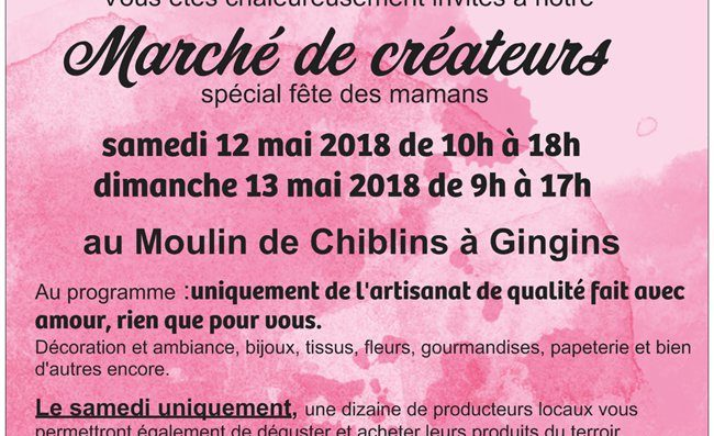 Creators Market Saturday 12 and Mother's Day Menu Sunday 13 May in Gingins