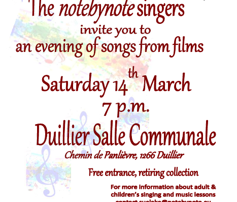 "Sing along at a ""Songs from the Films"" concert – Sat 14th March"